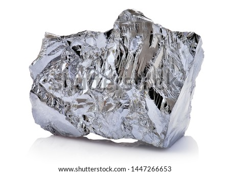 Macro shoot of piece of nickel metal ore isolated on a white background. Closeup photo of amazing shiny mineral rough #1447266653