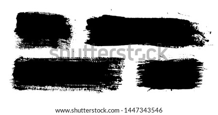 Brush strokes. Vector paintbrush set. Grunge design elements. Rectangle text boxes. Thin dirty distress texture banners. Ink splatters. Grungy painted banners. #1447343546