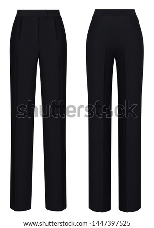 Beautiful set, classic luxury women's pants, plain black, front and back view, isolated on white background, ghost mannequin, blank, mockup #1447397525