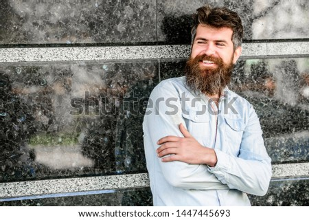 Beard grooming. Guy masculine appearance with long beard. Barber concept. Beard care. Man attractive bearded hipster posing outdoors. Masculinity and manliness. Confident posture of handsome man. #1447445693