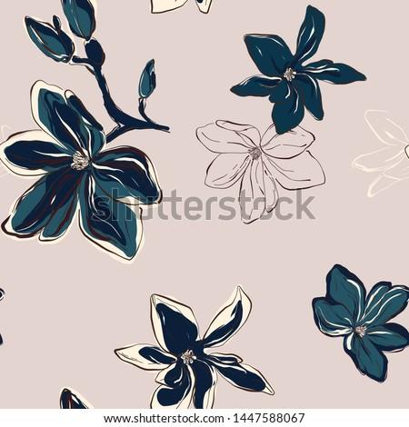 Magnolia Floral Pattern Modern botanical design in vector. Tender blue beige flowers on pastel background. Floral botany art #1447588067