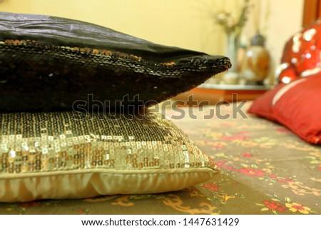 Cushion over cushion on bed #1447631429