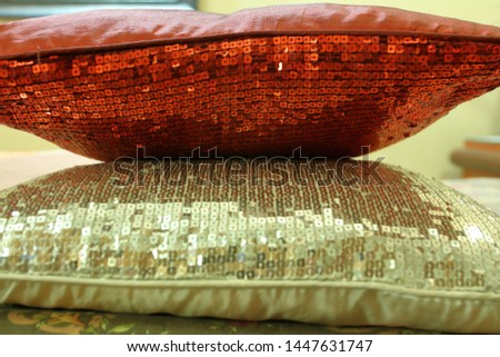 Cushion over cushion on bed #1447631747