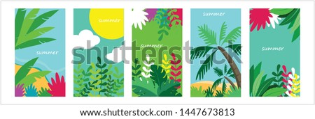 Summer time vector banner design with blue circle for text and colorful beach elements in sand colored background #1447673813