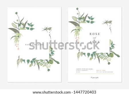 Flowers and foliage wedding invitation card template design, square frame decorated with various green leaves and flowers on white #1447720403