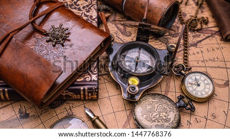 Nautical Compass Pirate Vintage Collection Royalty-Free Stock Photo #1447768376