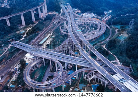 Aerial view of road in the city at night in winter #1447776602