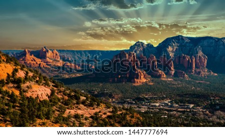 Sedona National Park valley and the mountains at a sunset #1447777694