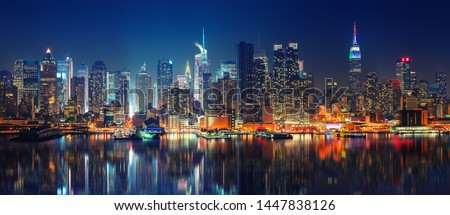 Panoramic view on Manhattan at night, New York, USA Royalty-Free Stock Photo #1447838126