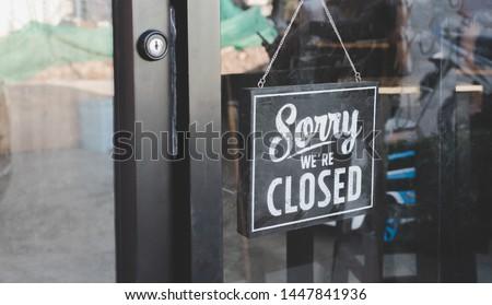 Come in we're open, vintage black retro sign #1447841936