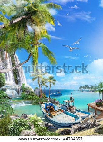 Beautiful sea view with palm trees and waterfalls. Fishing spoons at the pier. Digital fresco. #1447843571
