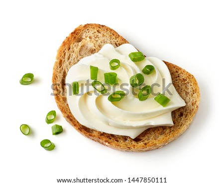 toasted bread with cream cheese and green onions isolated on white background, top view #1447850111