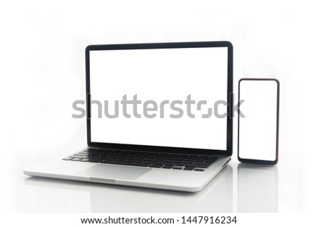 Blank screen notebook, laptop and mobile phone on isolated white background with clipping path. front view. #1447916234