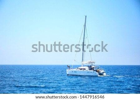 Luxury boat sailing in the Mediterranean, off the coast of Ayia Napa, CYPRUS-June 2019 #1447916546