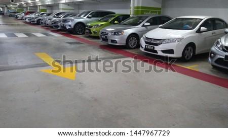 Kuala Lumpur, MALAYSIA - July 11, 2019: View image of Car parking in car park in Malaysia. #1447967729