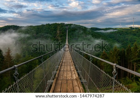 View of a suspension bridge in Germany, Geierlay. Royalty-Free Stock Photo #1447974287