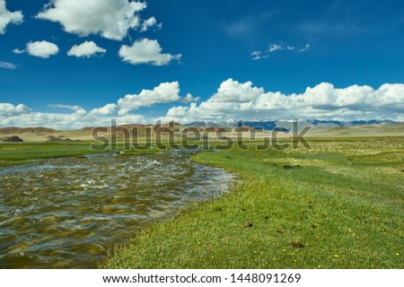 Mongolian Altai.  Current mountain stream, Scenic valley on the background of the snowcapped mountains. #1448091269