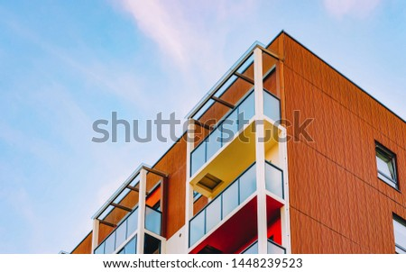 EU Apartment home residential building complex real estate concept. Place for copy space. With a blue sky #1448239523