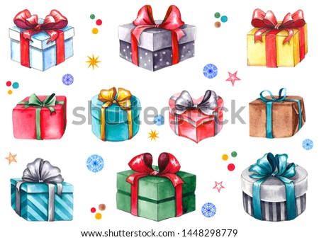 Set of colorful gift boxes, stars, snowflakes and confetti. Watercolor isolated on white background.