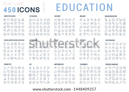Collection of line icons of education. Natural and mathematical science, additional education, tutorship, freelance. Set of flat signs and symbols for web and apps. #1448409257