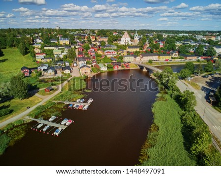Scenic aerial view of historical town of Porvoo in Finland #1448497091