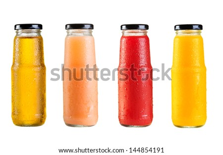 different bottles of juice on white background #144854191