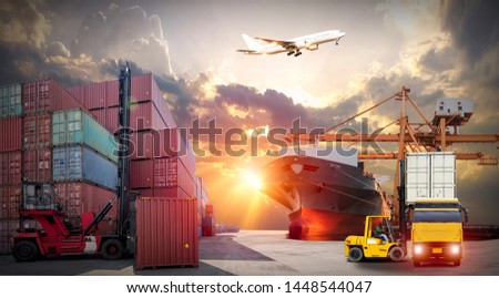 Industrial Container Cargo freight ship, forklift handling container box loading for logistic import export and transport industry concept backgroundtransport industry background #1448544047