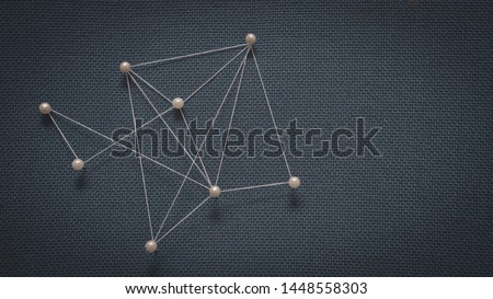 Abstract Geometric Background with Connecting Dots and lines forming Global Network Connection. #1448558303