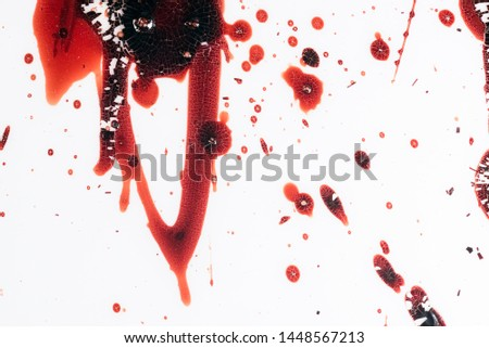 Realistic bloody splatters. Drop and blob of blood. Bloodstains. #1448567213