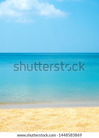 Summer time beach with blue sky, clear water, soft wave and white sand #1448583869
