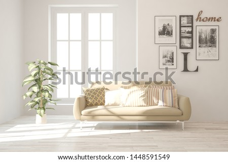 Stylish room in white color with sofa. Scandinavian interior design. 3D illustration #1448591549