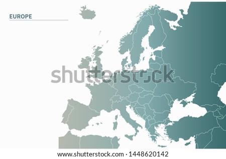 european countries map. simple gradient vector countries of europe map. country in europe. #1448620142