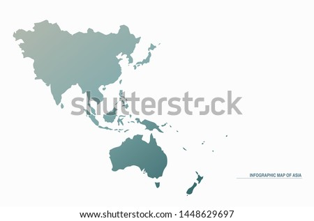 asia map. design gradient map with eps, vector 10. map of asia. Royalty-Free Stock Photo #1448629697