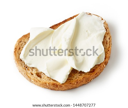 toasted bread with cream cheese isolated on white background #1448707277
