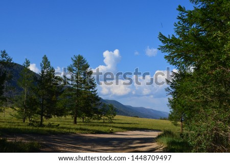 Road to Zama through green forest and fields near lake Baikal #1448709497