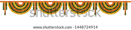 Orange and yellow Marigold Flower and green leaf garland decoration for indian festival, Indian festive decoration, toran #1448724914