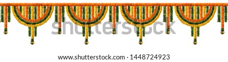 Orange and yellow Marigold Flower and green leaf garland decoration for indian festival, Indian festive decoration, toran #1448724923