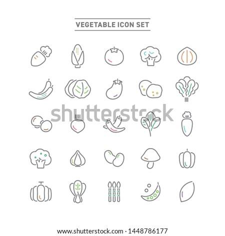 VEGITABLE AND FOOD LINE ICON SET #1448786177