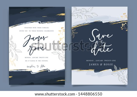Indigo Blue Set Card Wedding Invitation, floral invite thank you, rsvp modern card Design in Golden flower with leaf greenery  branches decorative Vector elegant rustic template #1448806550
