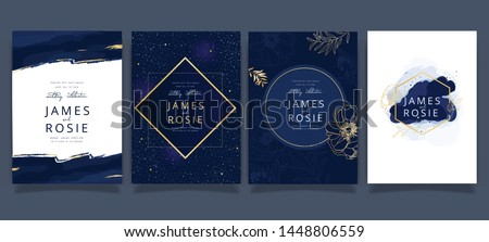 Indigo Blue Set Card Wedding Invitation, floral invite thank you, rsvp modern card Design in Golden flower with leaf greenery  branches decorative Vector elegant rustic template Royalty-Free Stock Photo #1448806559