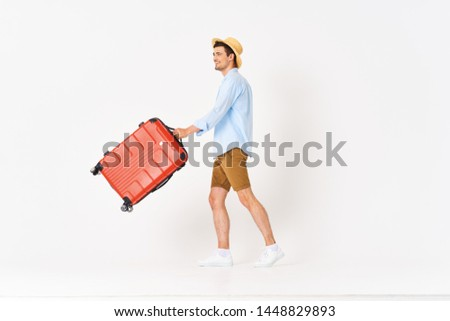 Cute man red suitcase lifestyle travel summer tickets #1448829893
