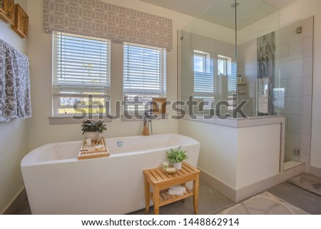 Bathtub and shower stall in front of windows with valance and blinds #1448862914