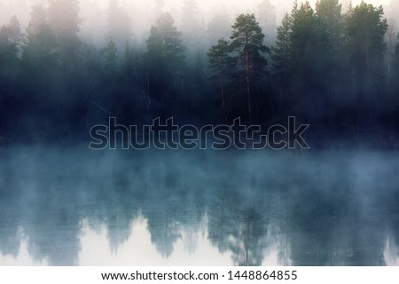 Autumn with mirrored pine forest and misty Northern river. Fog rises above the water at dawn, nascent day and nascent freedom of travel. Lapland, Scandinavia #1448864855