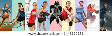 Creative collage made of photos of 9 models. Tennis, pole vault, badminton, hockey, volleyball, football, soccer, snowboarding female players or team. Sport, action, healthy lifestyle concept. #1448912159
