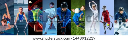 Creative collage made of photos of 9 caucasian models. Childrens in sport and healthy lifestyle. Hockey, gymnastick, badminton, football, soccer, tennis, figure skating, athletics, taekwondo. Royalty-Free Stock Photo #1448912219