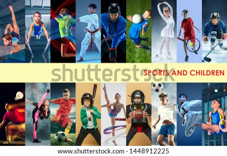 Creative collage made of photos of 17 caucasian models. Childrens in sport and healthy lifestyle. Hockey, gymnastick, badminton, football, soccer, tennis, figure skating, athletics, taekwondo. #1448912225