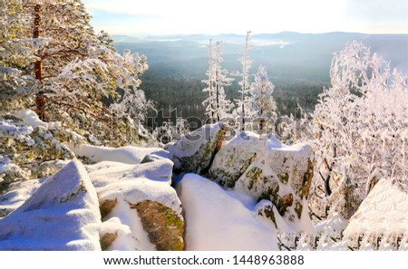 Winter snow mountain forest view. Winter snow mountain forrest. Mountain forrest win winter snow. Winter mountain forest snow #1448963888