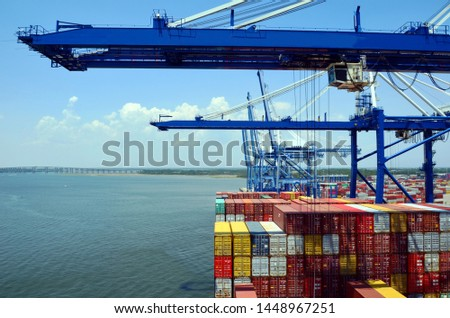 Container ship during cargo operations in the port of Charleston, South Carolina. #1448967251