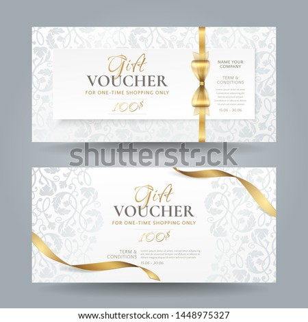 Set of stylish white gift vouchers with golden ribbons, bow and silver vintage floral pattern. Vector elegant template for gift cards, coupons and certificates isolated from background. #1448975327