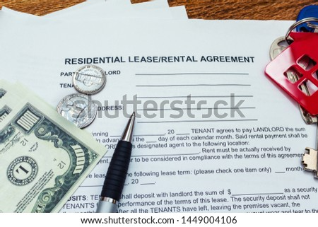 House, home, property, real estate lease rental contract agreement pen money coins keys wooden background, expenses, buying, investment, finance, savings, concept close up #1449004106
